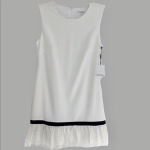 Ivory white sheath dress black trim lace ruffle